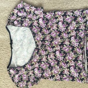 Forever 21 sweetheart neck purple floral crop top